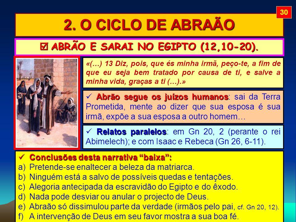  ABRÃO E SARAI NO EGIPTO (12,10-20).