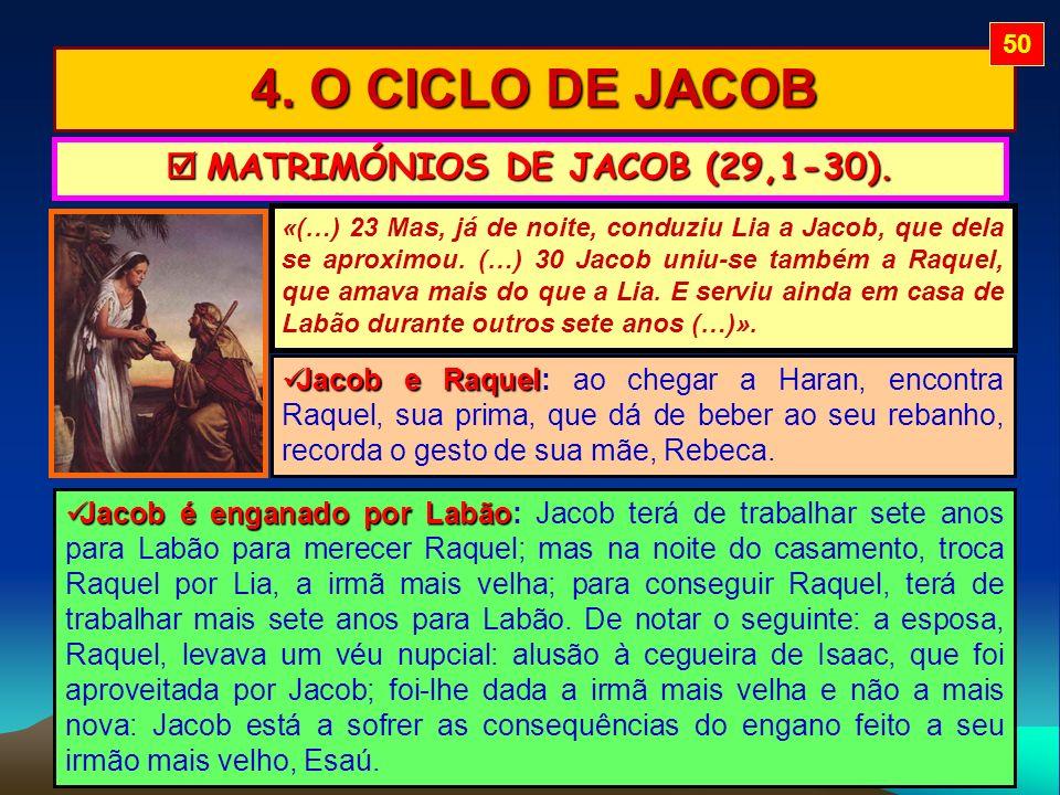  MATRIMÓNIOS DE JACOB (29,1-30).