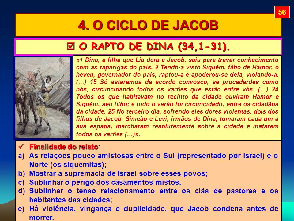 4. O CICLO DE JACOB  O RAPTO DE DINA (34,1-31). 56