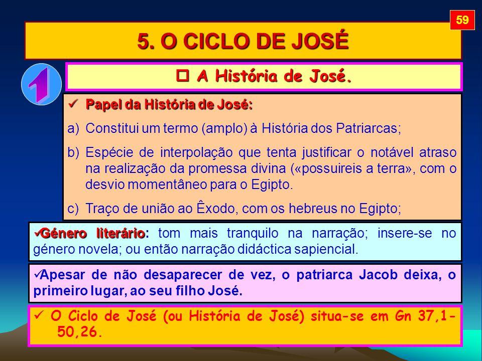 1 5. O CICLO DE JOSÉ  A História de José. Papel da História de José: