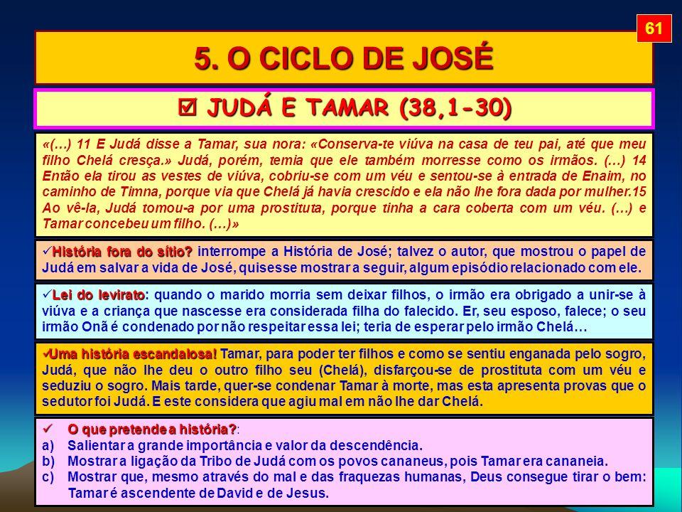 5. O CICLO DE JOSÉ  JUDÁ E TAMAR (38,1-30) 61
