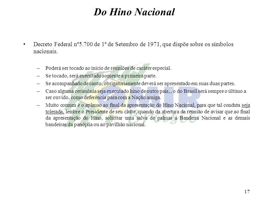 Do Hino Nacional Decreto Federal nº5.700 de 1º de Setembro de 1971, que dispõe sobre os símbolos nacionais.