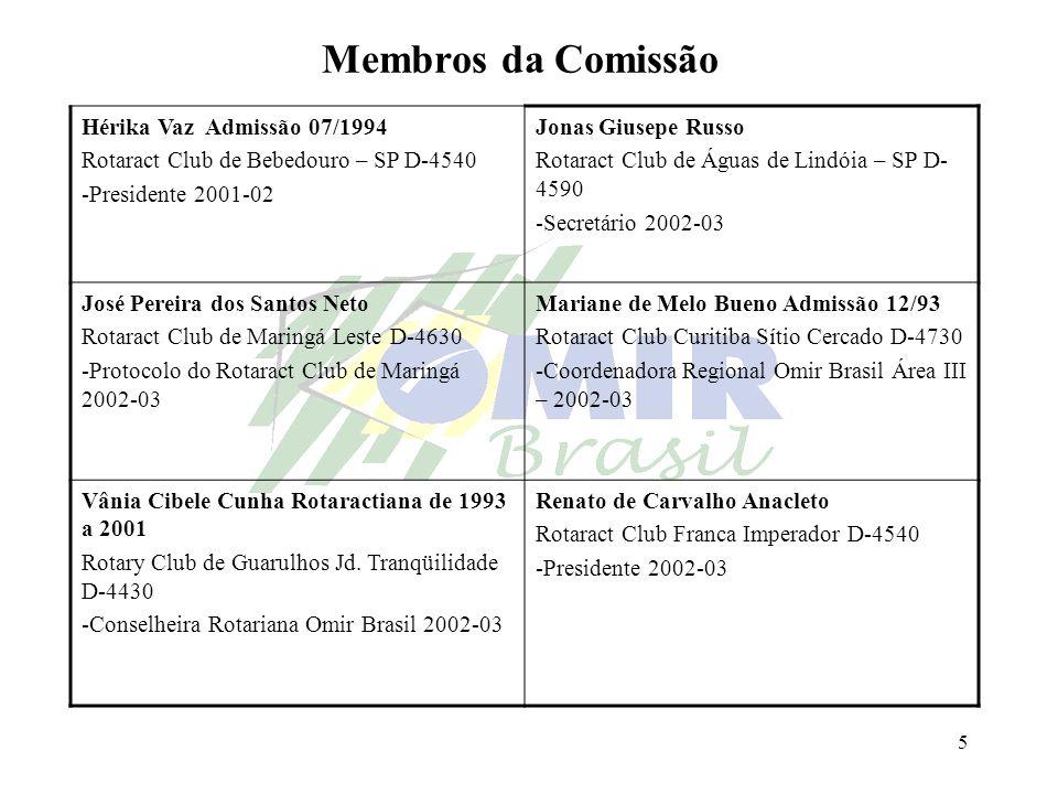 Membros da Comissão Hérika Vaz Admissão 07/1994