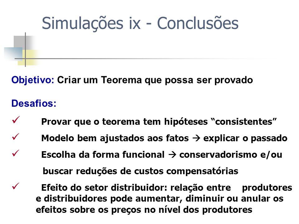 Simulações ix - Conclusões