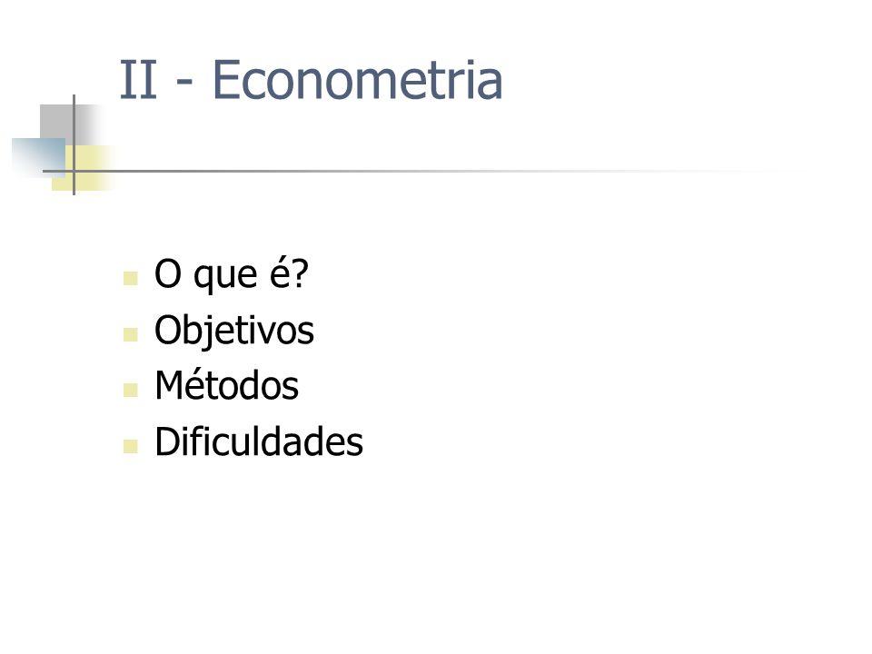 II - Econometria O que é Objetivos Métodos Dificuldades