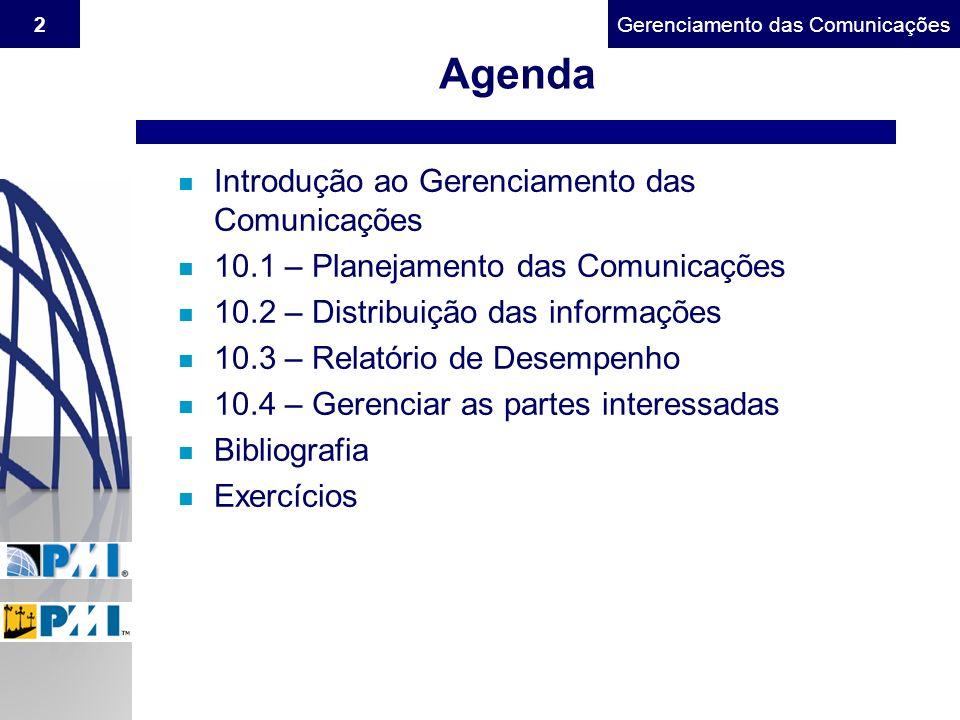 Agenda Introdução ao Gerenciamento das Comunicações