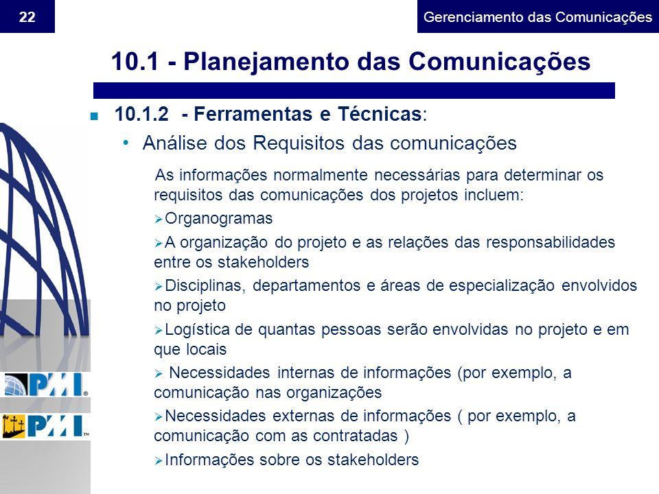 10.1 - Planejamento das Comunicações