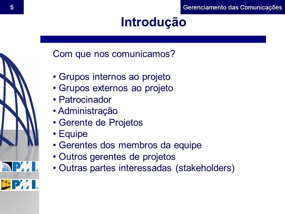Introdução Com que nos comunicamos Grupos internos ao projeto