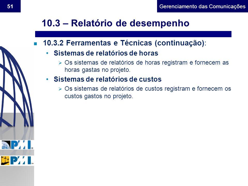 10.3 – Relatório de desempenho