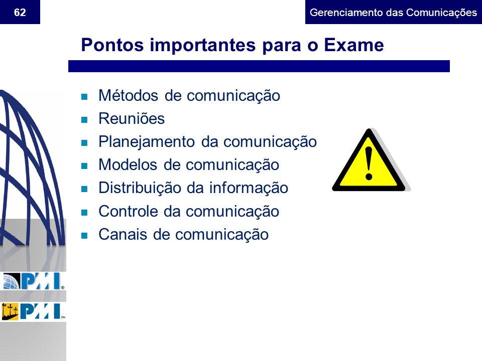 Pontos importantes para o Exame