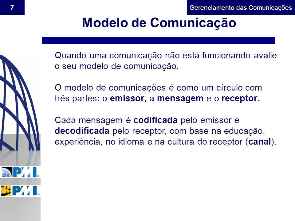 Modelo de Comunicação Quando uma comunicação não está funcionando avalie o seu modelo de comunicação.