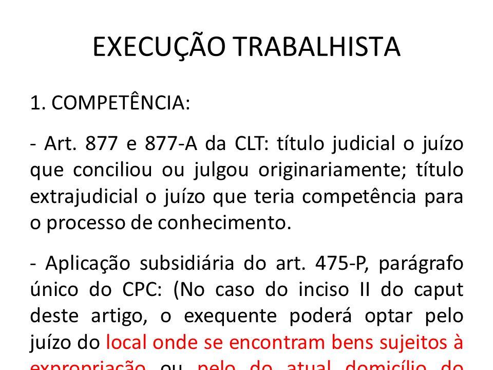 EXECUÇÃO TRABALHISTA 1. COMPETÊNCIA: