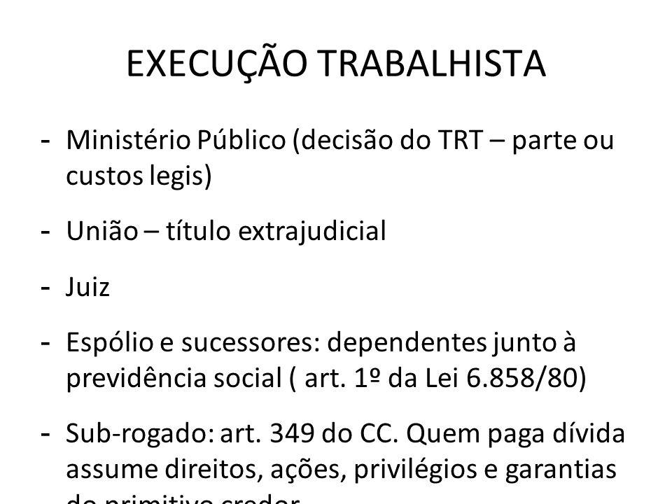 EXECUÇÃO TRABALHISTA Ministério Público (decisão do TRT – parte ou custos legis) União – título extrajudicial.