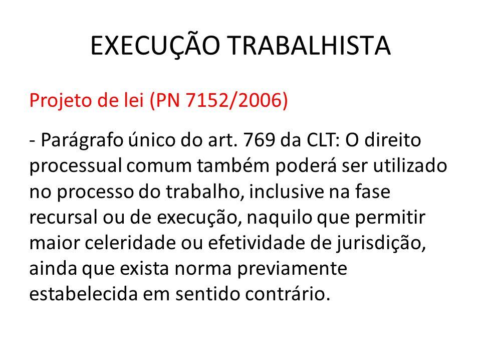 EXECUÇÃO TRABALHISTA Projeto de lei (PN 7152/2006)