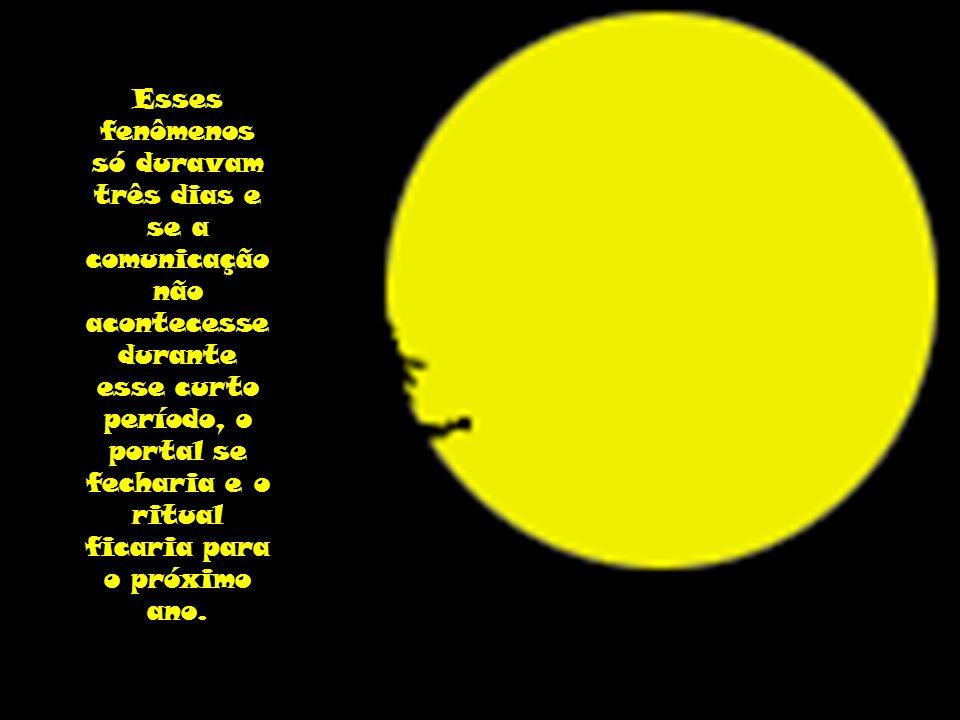 Esses fenômenos só duravam três dias e se a comunicação não acontecesse durante esse curto período, o portal se fecharia e o ritual ficaria para o próximo ano.