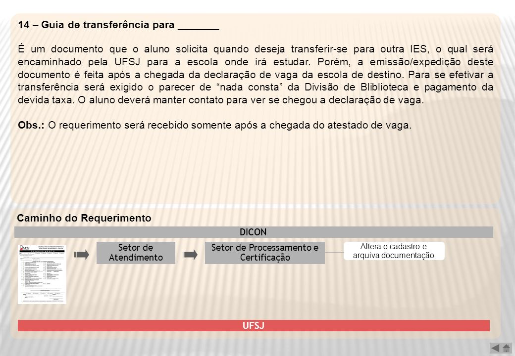 14 – Guia de transferência para _______