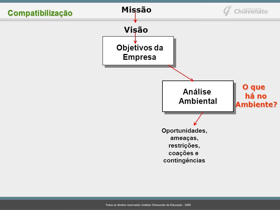 Visão O que Missão Compatibilização Objetivos da Empresa Análise