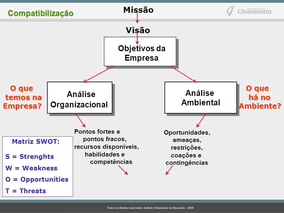 Análise Visão O que O que Missão Compatibilização Objetivos da Empresa