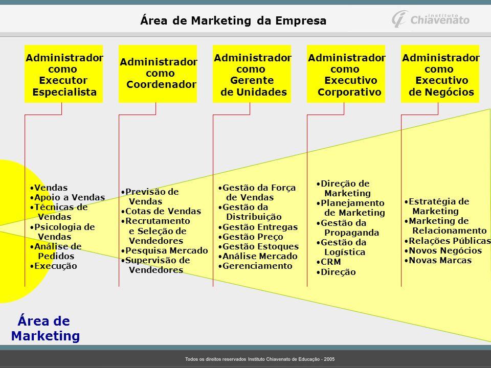 Marketing Área de Marketing da Empresa Administrador como Executor