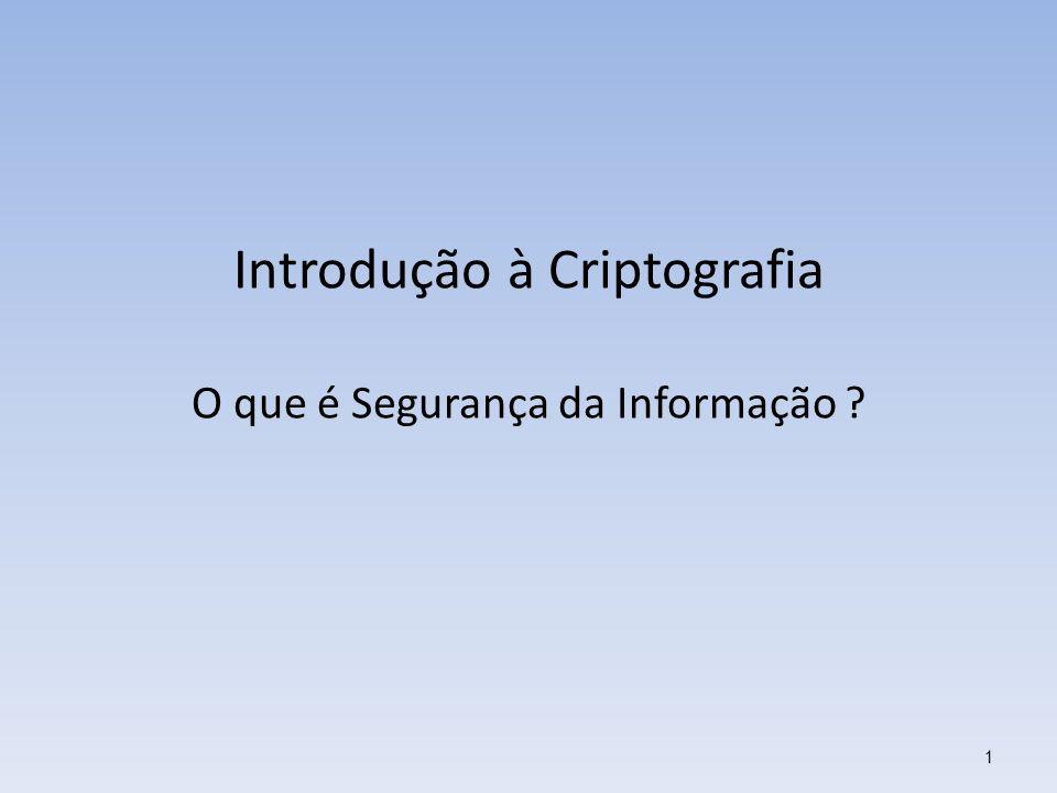 Introdução à Criptografia O que é Segurança da Informação