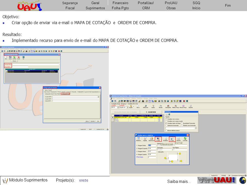 Criar opção de enviar via e-mail o MAPA DE COTAÇÃO e ORDEM DE COMPRA.