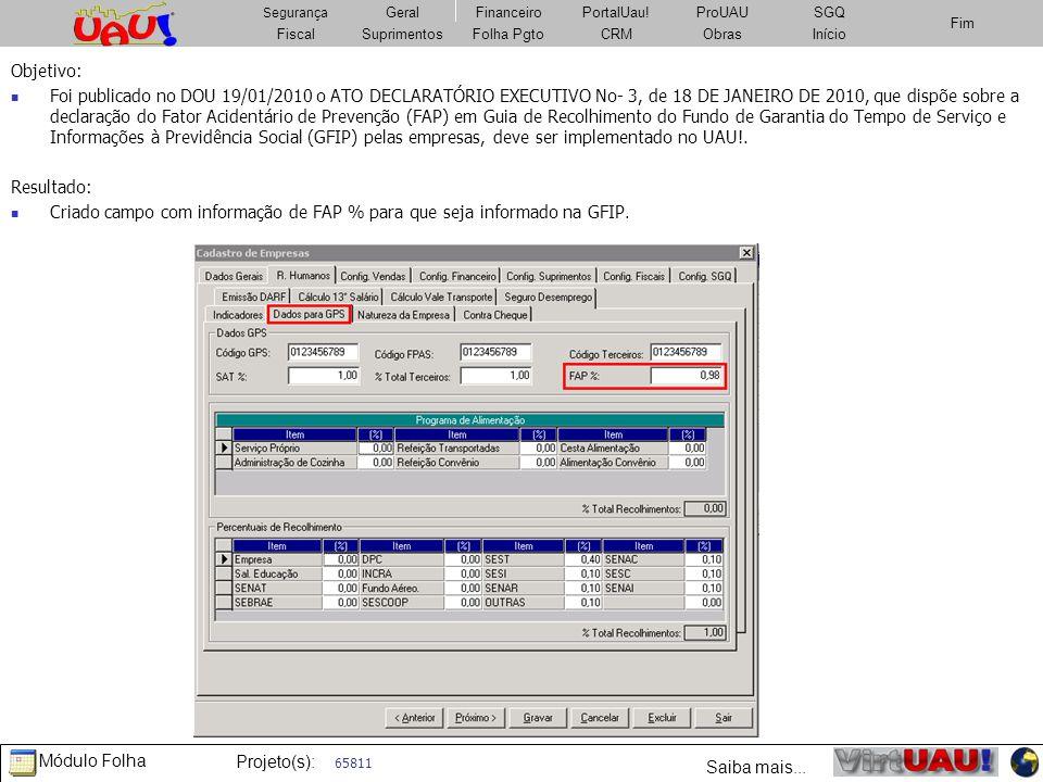 Criado campo com informação de FAP % para que seja informado na GFIP.