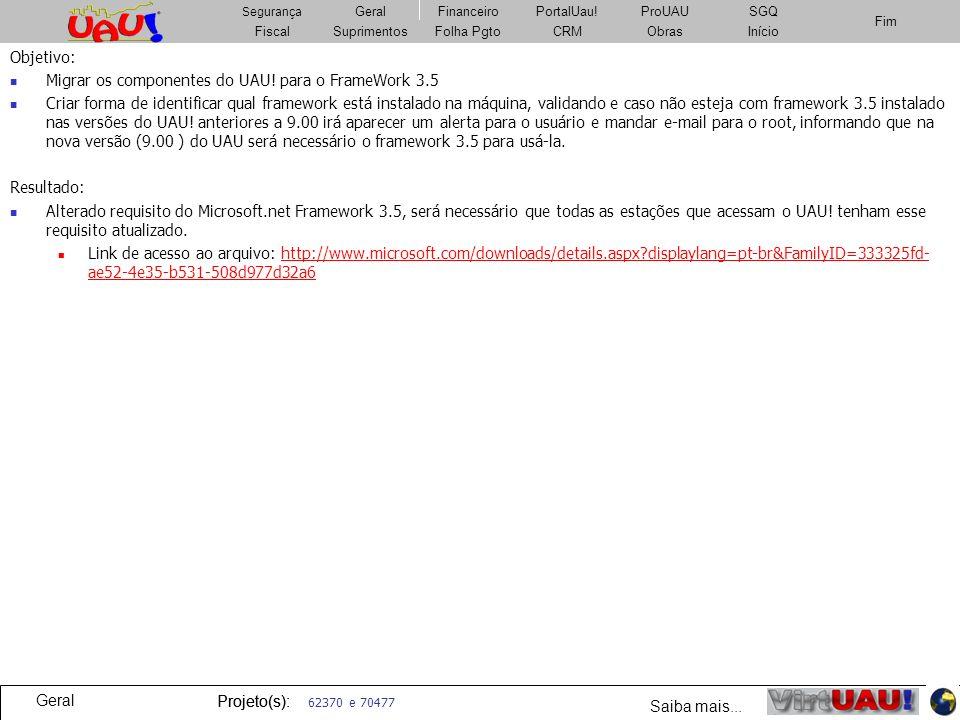 Migrar os componentes do UAU! para o FrameWork 3.5