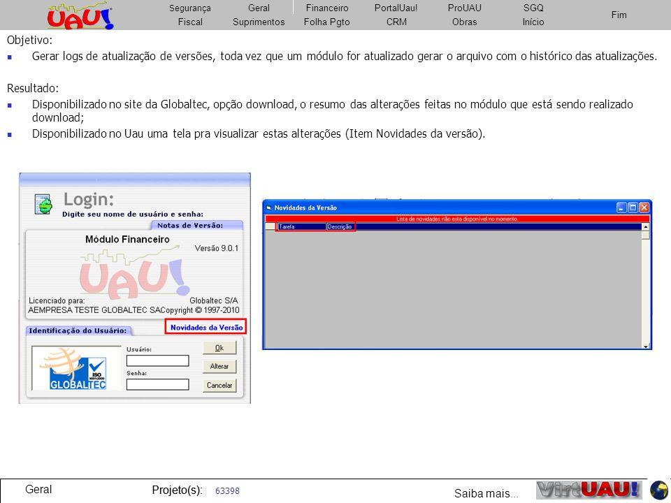 Objetivo: Gerar logs de atualização de versões, toda vez que um módulo for atualizado gerar o arquivo com o histórico das atualizações.