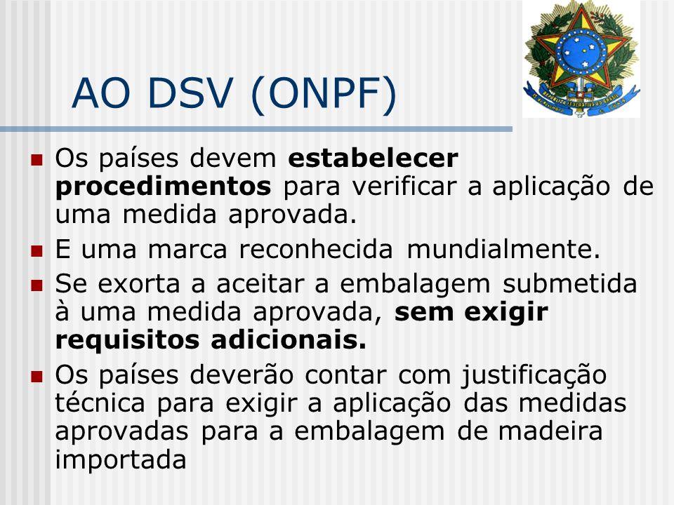 AO DSV (ONPF) Os países devem estabelecer procedimentos para verificar a aplicação de uma medida aprovada.
