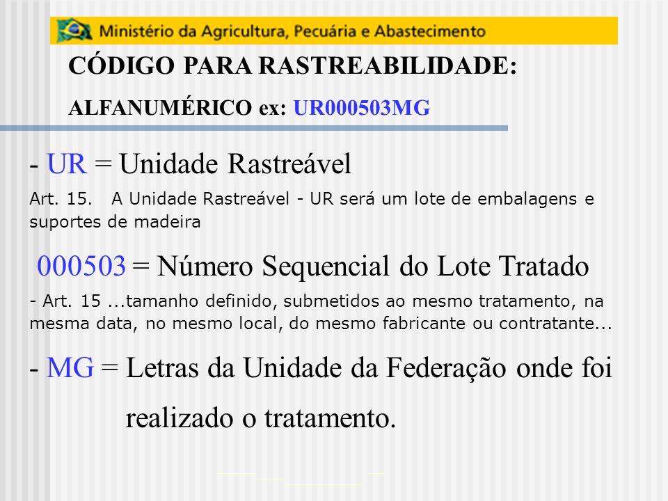 UR = Unidade Rastreável 000503 = Número Sequencial do Lote Tratado