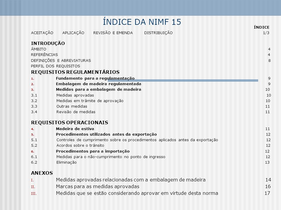 ÍNDICE DA NIMF 15 REQUISITOS REGULAMENTÁRIOS REQUISITOS OPERACIONAIS