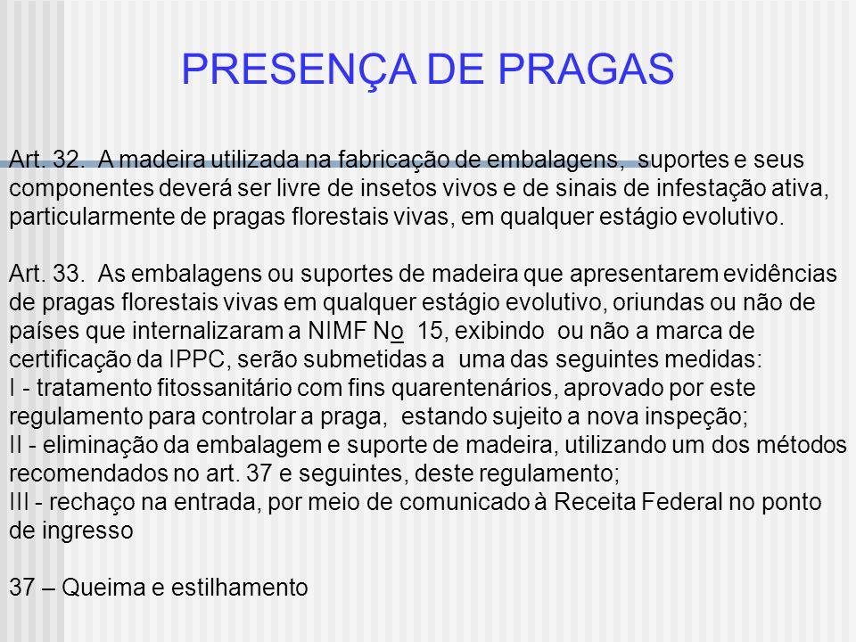 PRESENÇA DE PRAGAS