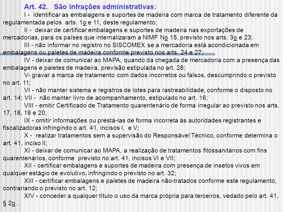 Art. 42. São infrações administrativas: