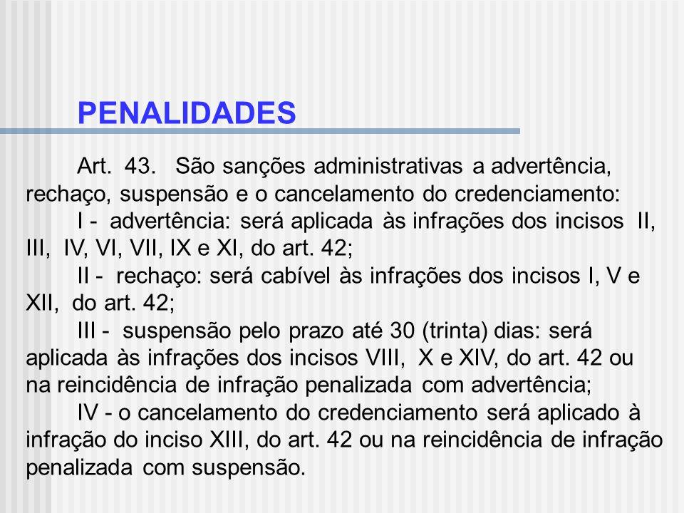 PENALIDADES Art. 43. São sanções administrativas a advertência, rechaço, suspensão e o cancelamento do credenciamento: