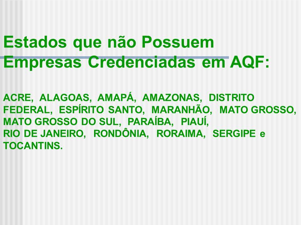 Estados que não Possuem Empresas Credenciadas em AQF: