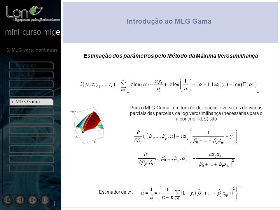 Introdução ao MLG Gama Estimação dos parâmetros pelo Método da Máxima Verosimilhança. 5. MLG Gama.