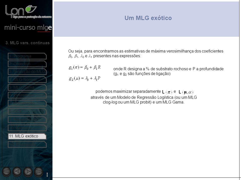 Um MLG exótico Ou seja, para encontrarmos as estimativas de máxima verosimilhança dos coeficientes b0, b1, l0 e l1 presentes nas expressões: