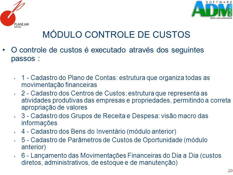 MÓDULO CONTROLE DE CUSTOS