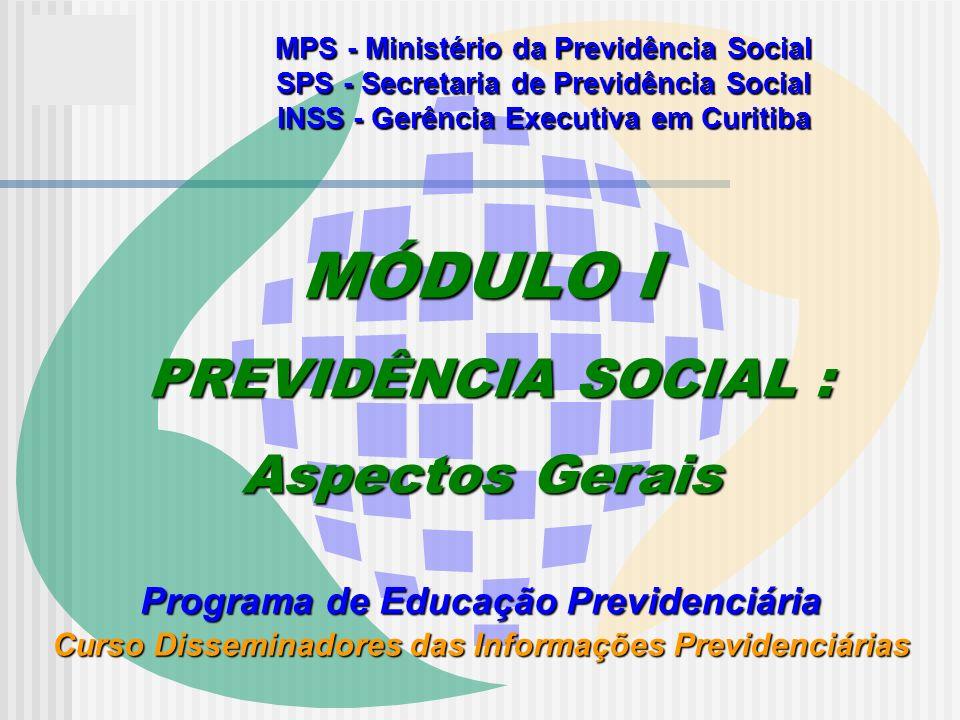 MÓDULO I PREVIDÊNCIA SOCIAL : Aspectos Gerais