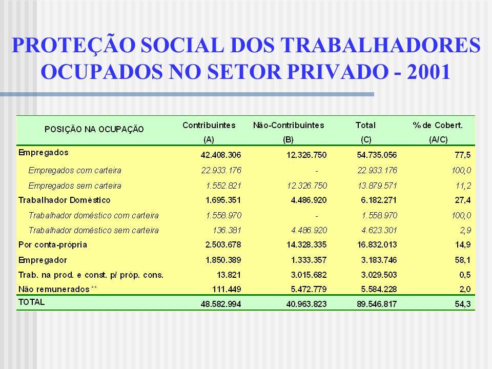 PROTEÇÃO SOCIAL DOS TRABALHADORES OCUPADOS NO SETOR PRIVADO - 2001