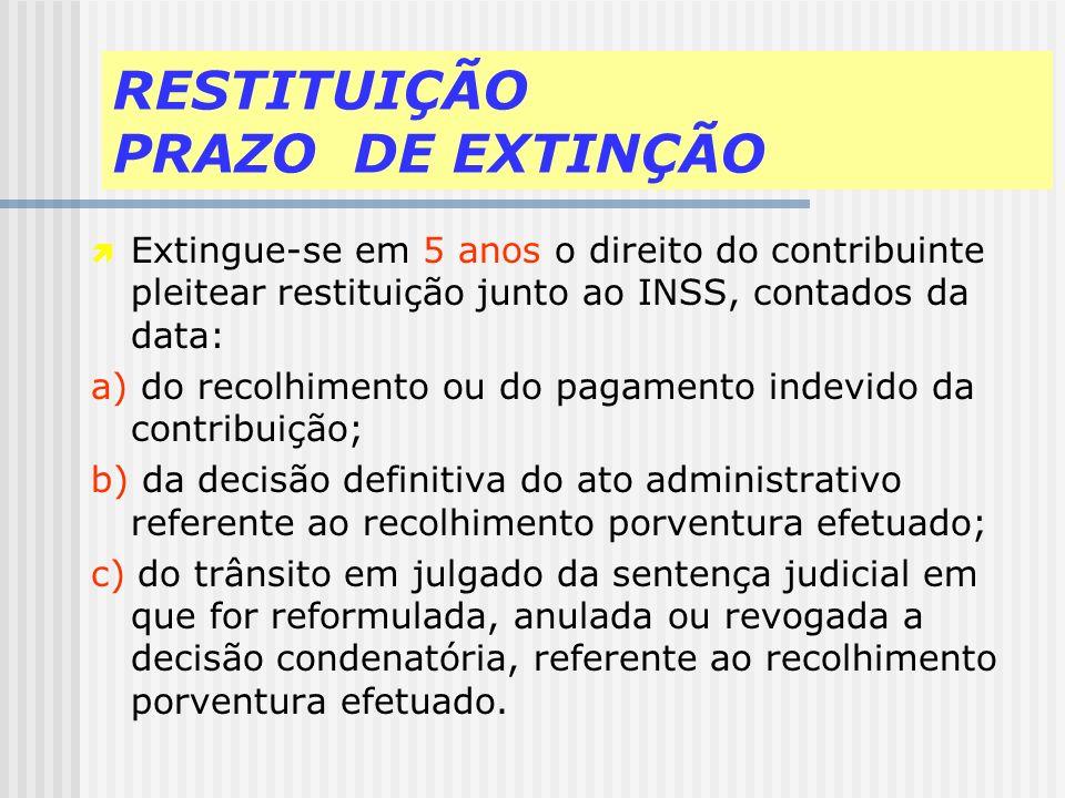 RESTITUIÇÃO PRAZO DE EXTINÇÃO