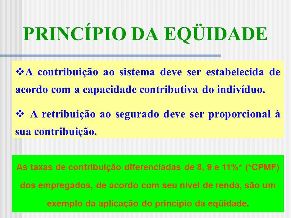 PRINCÍPIO DA EQÜIDADE A contribuição ao sistema deve ser estabelecida de acordo com a capacidade contributiva do indivíduo.