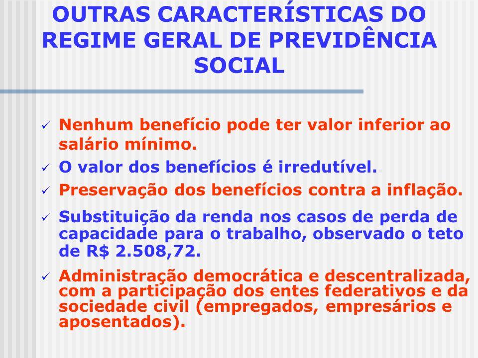 OUTRAS CARACTERÍSTICAS DO REGIME GERAL DE PREVIDÊNCIA SOCIAL