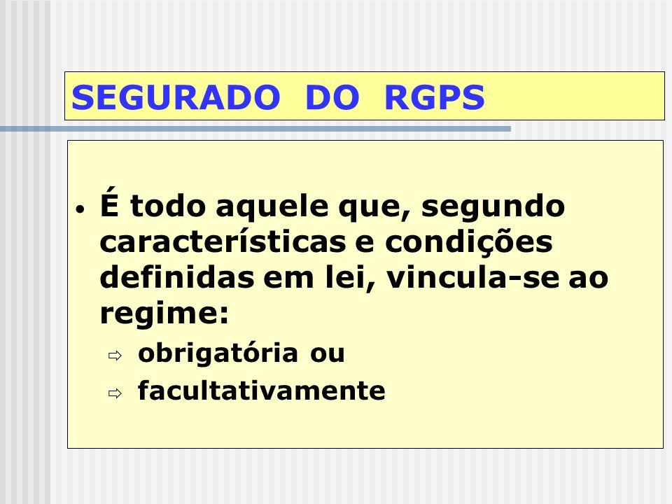 SEGURADO DO RGPS É todo aquele que, segundo características e condições definidas em lei, vincula-se ao regime: