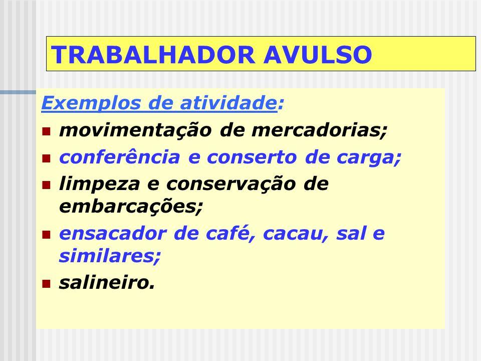 TRABALHADOR AVULSO Exemplos de atividade: movimentação de mercadorias;