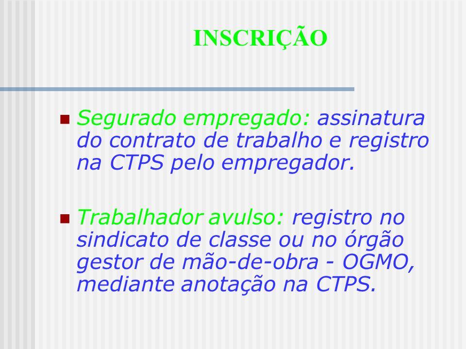 INSCRIÇÃO Segurado empregado: assinatura do contrato de trabalho e registro na CTPS pelo empregador.