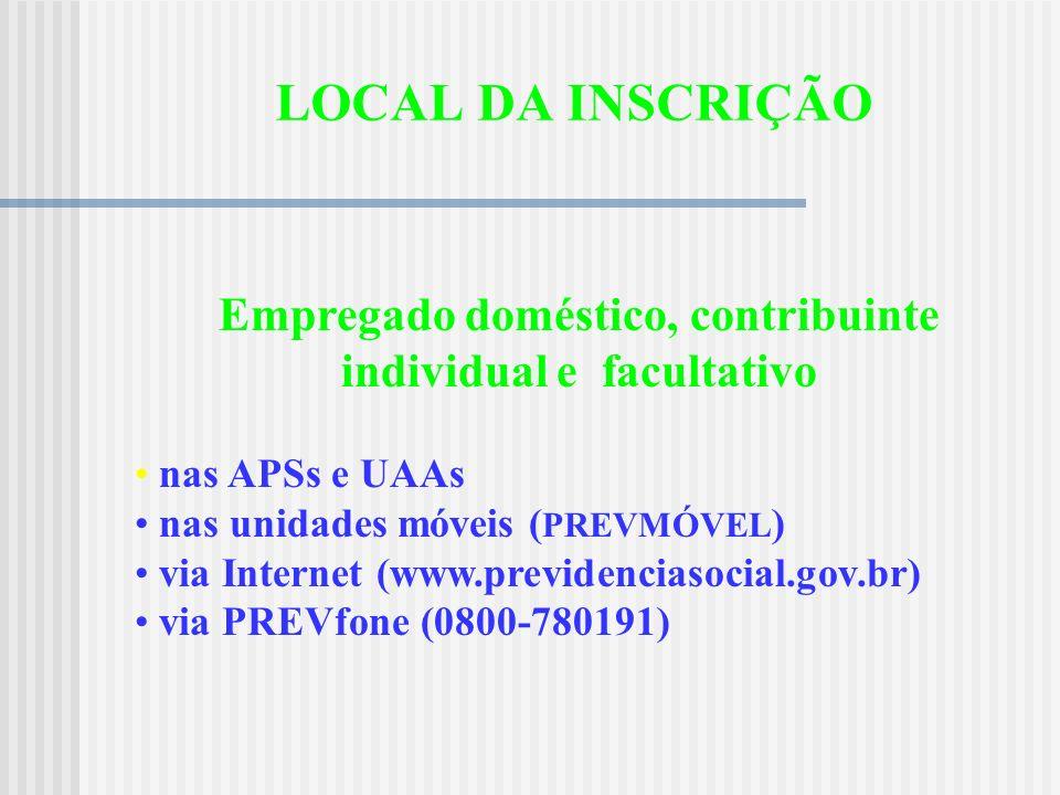 Empregado doméstico, contribuinte individual e facultativo
