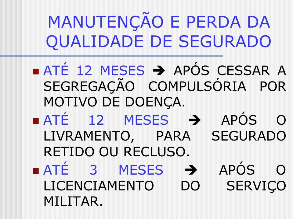 MANUTENÇÃO E PERDA DA QUALIDADE DE SEGURADO