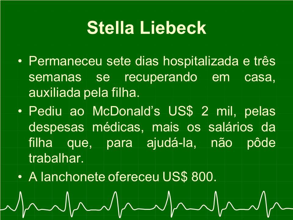 Stella Liebeck Permaneceu sete dias hospitalizada e três semanas se recuperando em casa, auxiliada pela filha.
