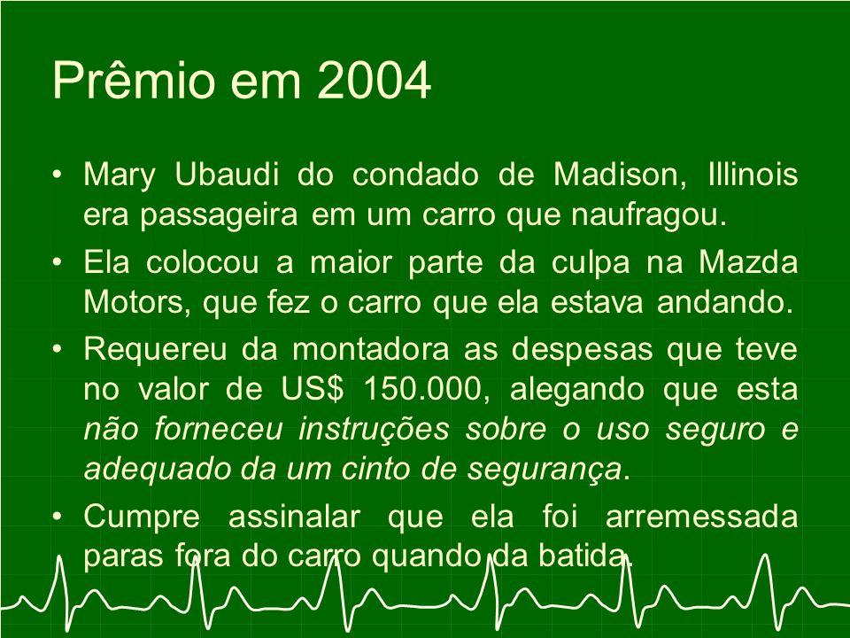 Prêmio em 2004 Mary Ubaudi do condado de Madison, Illinois era passageira em um carro que naufragou.